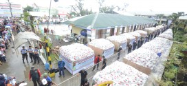 "Some 150,000 relief bags containing rice, sardines and noodles were distributed by the Iglesia Ni Cristo in its latest ""Lingap sa Mamamayan"" or Aid to Humanity in Tacloban City for survivors of typhoon Yolanda (international name Haiyan).  Eagle News Service"