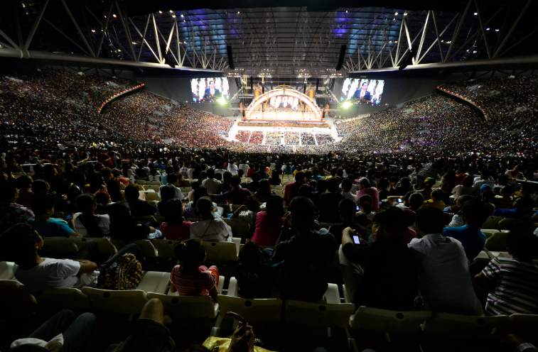 "A multitude of people attended the first evangelical mission at the 55,000-seater Philippine Arena capping the week-long centennial celebration of the Iglesia Ni Cristo in Ciudad de Victoria (City of Victory) in Bocaue, Bulacan on Saturday, Aug. 2.  INC brethren invited thousands of guests to hear ""God's message"" as biblical verses were read straight from the Bible.  (Eagle News Service)"