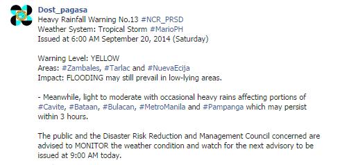 PAGASA removes rainfall warnings in Metro Manila, Rizal, Bulacan