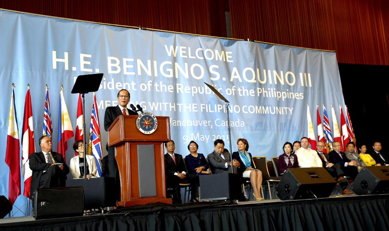 (VANCOUVER, Canada) President Benigno S. Aquino III delivers his speech during the Meeting with the Filipino Community at the West English Bay Ballroom C&D of the Vancouver Convention Center for his State Visit to Canada. (Photo by:Gil Nartea / Malacañang Photo Bureau)