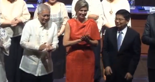 Maxima, the Queen of The Netherlands, attends the launch of the Philippine central bank's national strategy for financial inclusion, capping her two-day visit to the Philippines. (Courtesy Reuters/Photo grabbed from Reuters video)