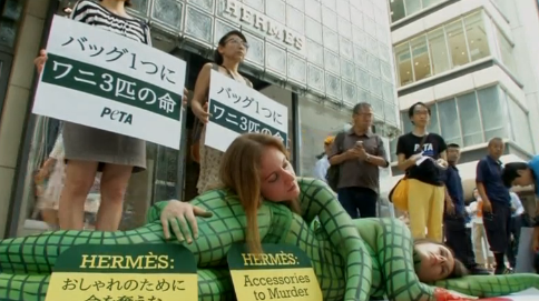 Animal rights activists painted in crocodile print rally outside the Hermes Tokyo store to protest the luxury brand's use of exotic animal skins for their bags. (Photo grabbed from Reuters video/Courtesy Reuters)