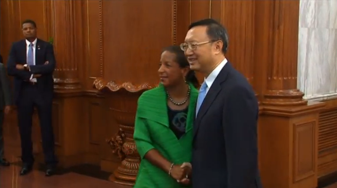 U.S. national security advisor Susan Rice meets China's State Councillor Yang Jiechi in Beijing. (photo captured from Reuters video)