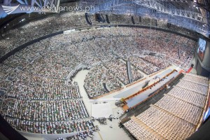 "A view from inside the 55,000-seater Philippine Arena during the ""Dakilang Pamamahayag ng mga Salita ng Diyos"", the most extensive evangelical mission of the Iglesia Ni Cristo. (Photo courtesy INC Executive News)"