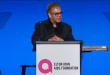 Elton John hosts his 14th annual An Enduring Vision benefit gala to support HIV/AIDS in New York. (Photo captured from Reuters video)