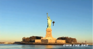 Man flies around Statue of Liberty in jetpack