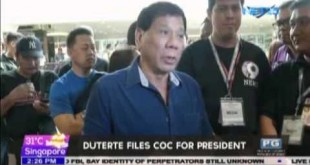 Duterte files COC for president