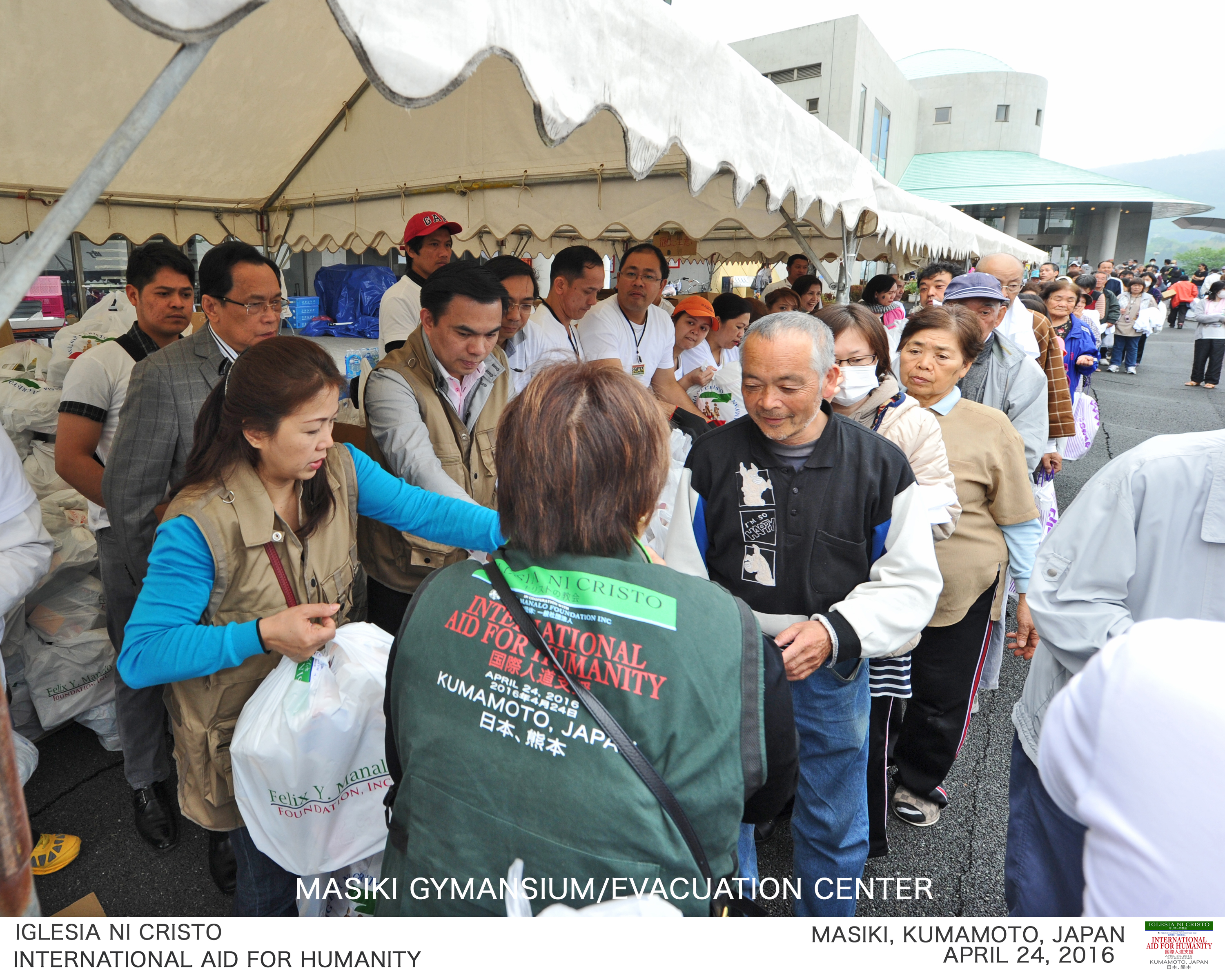 The Iglesia Ni Cristo distributes emergency relief assistance to quake victims in the town of Mashiki in Kumamoto prefecture, Kyushu island which was the worst-hit by the recent strong quakes in Japan.  The INC, in fact, was the only Filipino organization to reach the devastated town of Mashiki which was nearest the quake's epicenter.  (Photo courtesy FYM Foundation)