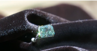Large green and blue diamonds on display in Hong Kong ahead of auction