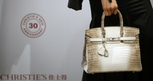 Diamond-encrusted Hermes handbag sold for record $300,000