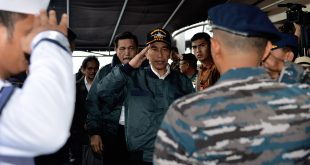 Indonesian leader visits South China Sea islands on warship