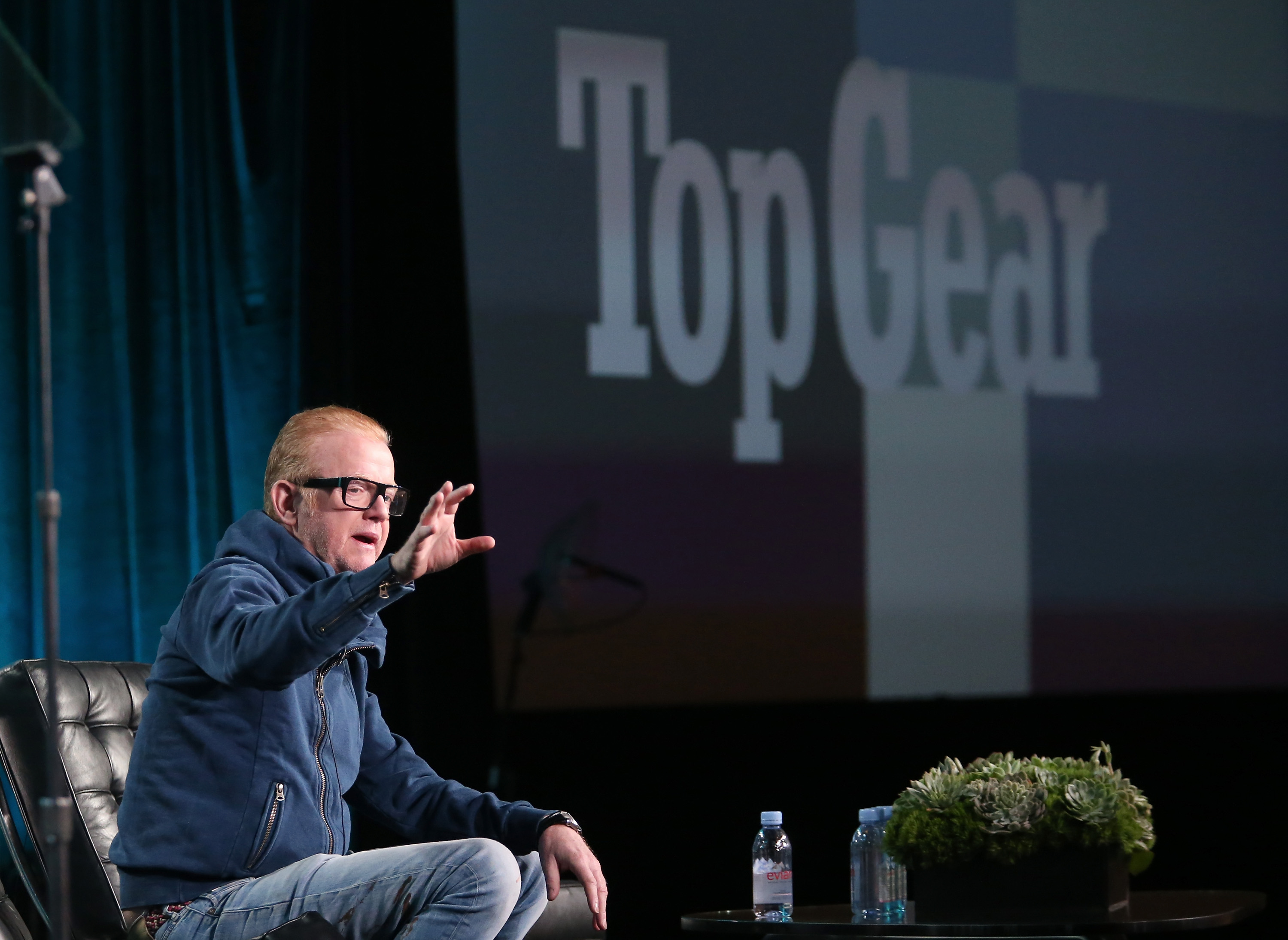 PASADENA, CA - JANUARY 08: Host Chris Evans speaks onstage during the Top Gear panel as part of the BBC America portion of This is Cable 2016 Television Critics Association Winter Tour at Langham Hotel on January 8, 2016 in Pasadena, California.   Frederick M. Brown/Getty Images/AFP