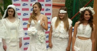 Ten rolls of toilet paper make up this year's winning wedding dress look