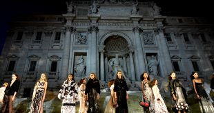Fendi models walk on water in Rome's Trevi fountain