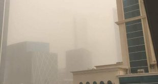 The sandstorm that struck Qatar on Aug. 24.  Shown here is the West Bay area in Doha, Qatar.  Photo taken by MJ Regelme.  (Eagle News Service Qatar)