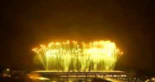 Fireworks light up the sky at Olympics closing ceremony