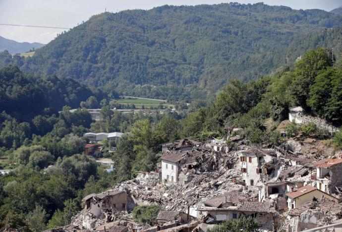 Collapsed houses are seen following an earthquake in Pescara