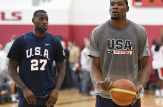 LAS VEGAS, NV - AUGUST 12: LeBron James #27 looks on as Kevin Durant #29 of the 2015 USA Basketball Men's National Team shoots a free throw during a practice session at the Mendenhall Center on August 12, 2015 in Las Vegas, Nevada.   Ethan Miller/Getty Images/AFP