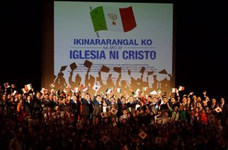 """Iglesia Ni Cristo (Church of Christ) members in Japan declare their pride as church members in the launching of the theme, """"I am proud to be a member of the Church of Christ)"""