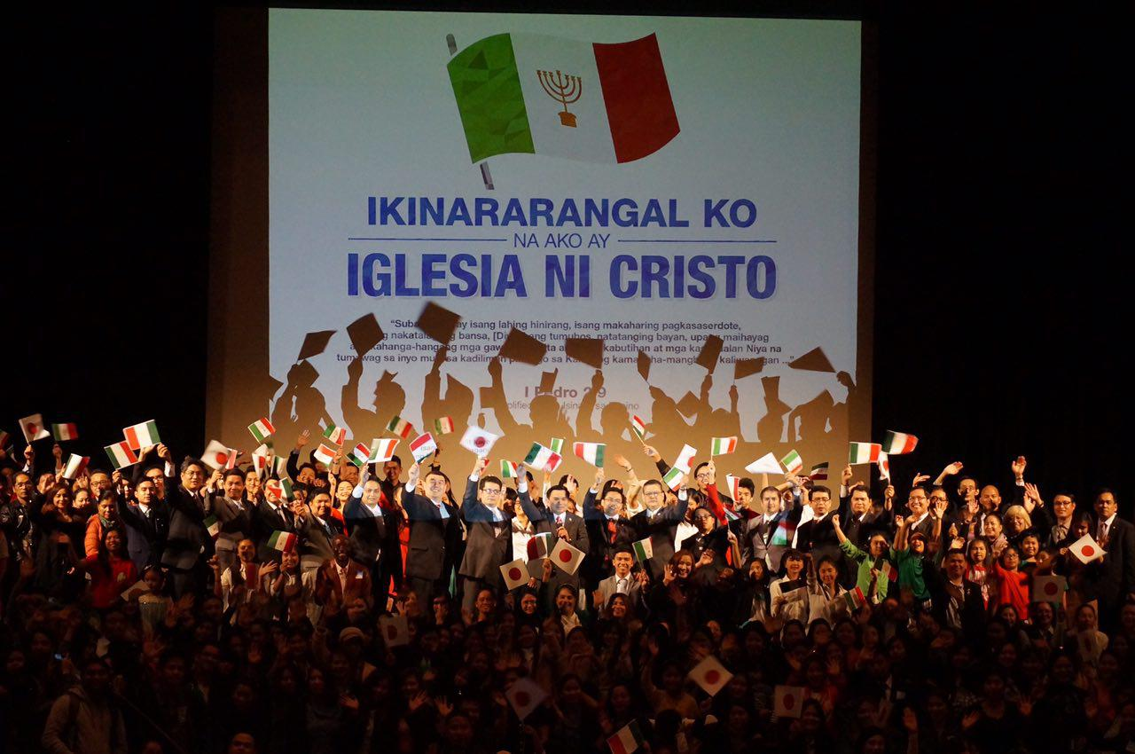 "Iglesia Ni Cristo (Church of Christ) members in Japan declare their pride as church members in the launching of the theme, ""I am proud to be a member of the Church of Christ)"