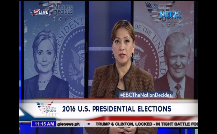 """Anchor Ellaine Fuentes at the EBC main studio in Quezon City during the EBC's special coverage of the US elections, """"The Nation Decides."""""""