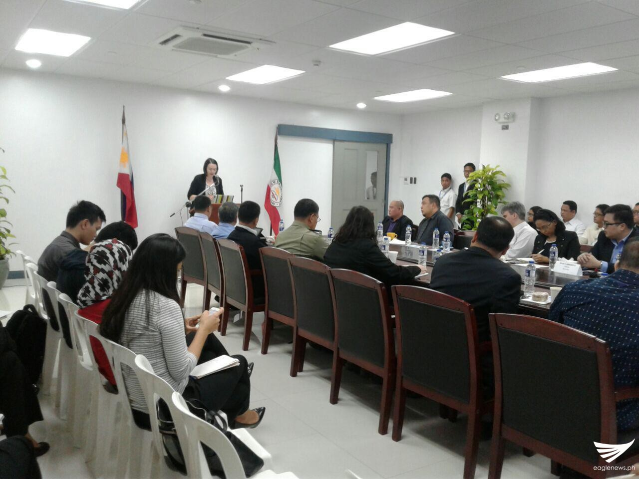 Dr. Ekaterina Koldunova talks about Russia's bilateral and multilateral relations with the Philippines and ASEAN, during a roundtable discussion held on Friday, November 25, at the New Era University's ASEAN Studies Center in Quezon City. (Eagle News Service)