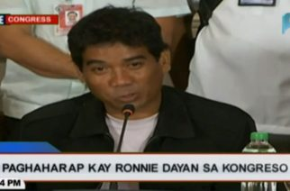 """Ronnie Dayan, in a press conference Tuesday night, said his message to his former boss and lover was for her to """"stay strong.""""  (Photo grabbed from PTV-4 video)"""