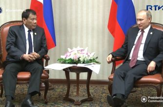 (File photo) Philippine President Rodrigo Duterte and President Vladimir Putin of the Russian Federation holds a bilateral meeting at the Swissôtel Lima in Lima, Peru.  (Photo grabbed from RTVM video)