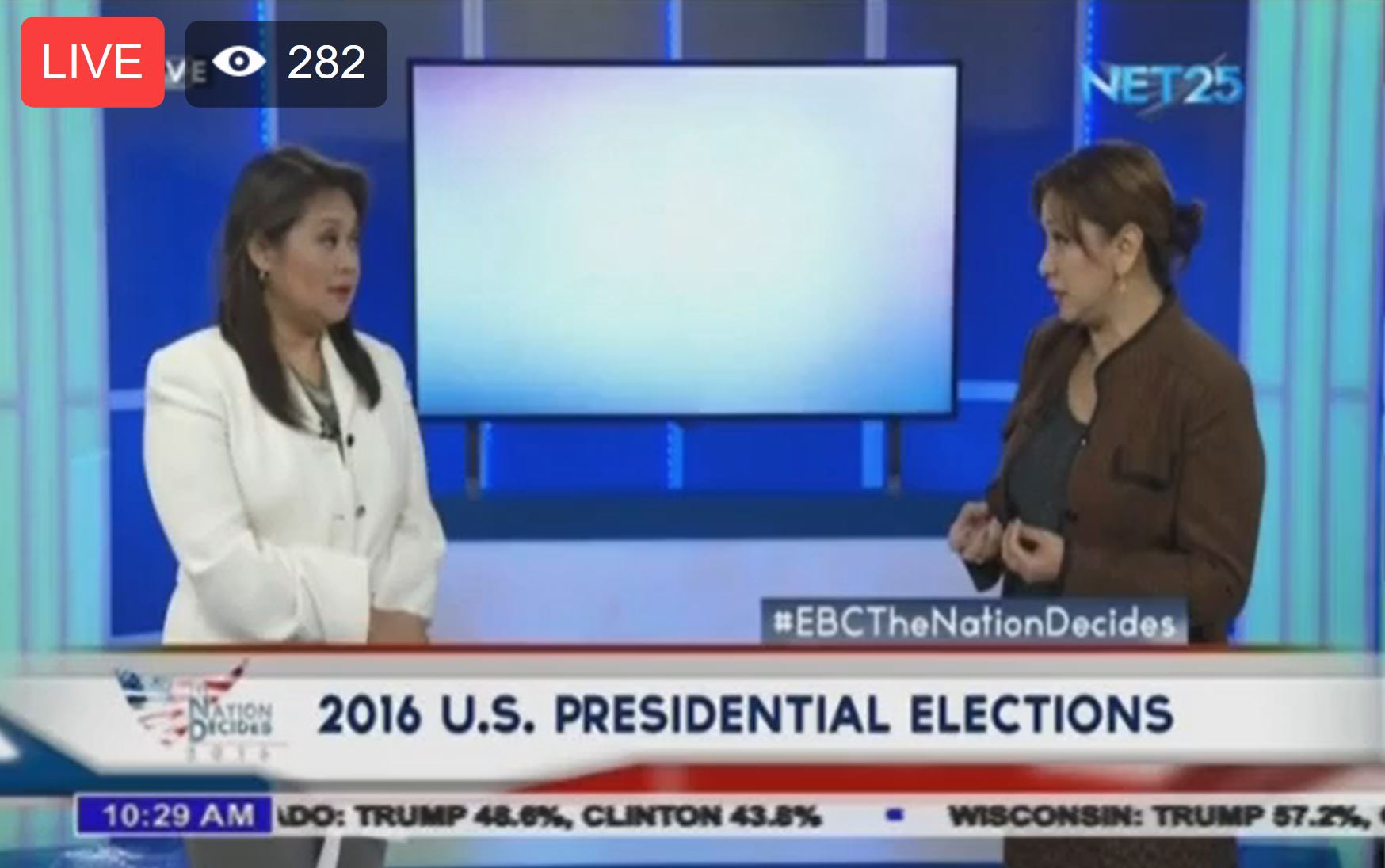 Eagle News Service anchors Alma Angeles and Ellaine Fuentes at the EBC main studio in Quezon City.