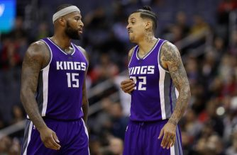 WASHINGTON, DC - NOVEMBER 28: DeMarcus Cousins #15 and Matt Barnes #22 of the Sacramento Kings talk on the floor against the Washington Wizards at Verizon Center on November 28, 2016 in Washington, DC. NOTE TO USER: User expressly acknowledges and agrees that, by downloading and or using this photograph, User is consenting to the terms and conditions of the Getty Images License Agreement.   Rob Carr/Getty Images/AFP