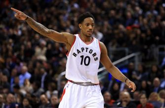 TORONTO, ON - DECEMBER 05: DeMar DeRozan #10 of the Toronto Raptors signals to teammates during the first half of an NBA game against the Cleveland Cavaliers at Air Canada Centre on December 5, 2016 in Toronto, Canada. NOTE TO USER: User expressly acknowledges and agrees that, by downloading and or using this photograph, User is consenting to the terms and conditions of the Getty Images License Agreement.   Vaughn Ridley/Getty Images/AFP