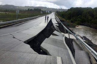 A damaged road is seen after a quake at Tarahuin, on Chiloe island, southern Chile, December 25, 2016. REUTERS/Alvaro Vidal