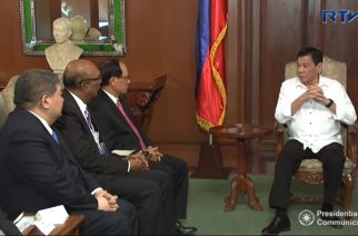 President Duterte receives the officials of the Association of Southeast Asian Nations (ASEAN) in Malacanang before he left for Cambodia and Singapore.  (Photo grabbed from RTVM video)