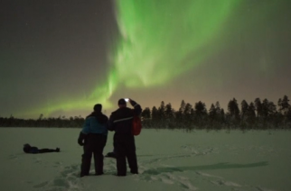 Stunning Northern Lights display turns sky a swirling green over Finland.(photo grabbed from Reuters video)