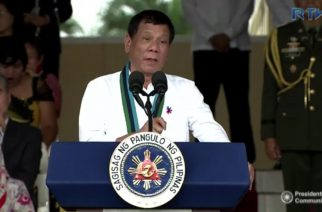 President Rodrigo Duterte speaking during the turn-over ceemonies for the new Armed Forces chief of staff. (Photo grabbed from RTVM video)