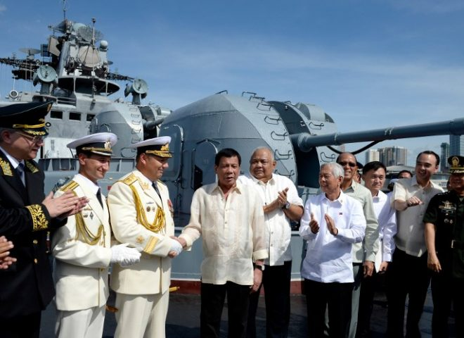 """We welcome our Russian friends,"" says President Duterte as he tours Russian Navy ship"