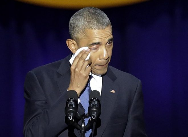 News in photo:  Obama wipes his tears during farewell speech