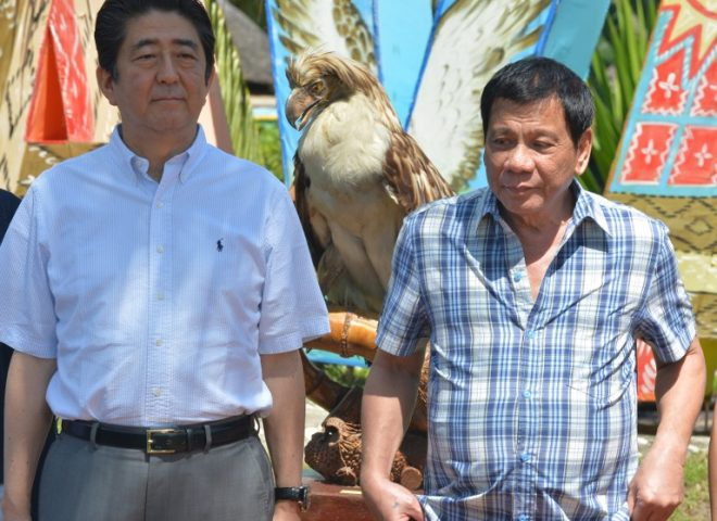 News in photo: Japan PM Abe at the eagle-naming ceremony in Davao