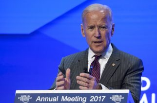 US Vice President Joe Biden delivers remarks on the Cancer Moonshot during a special session on the eve of the opening day of the World Economic Forum, on January 16, 2017 in Davos. Inequality will be among the issues topping the agenda as the world's political and business elite meet in Davos from Tuesday until Friday, when 3,000 people will gather for the annual meeting of the World Economic Forum.  / AFP PHOTO / FABRICE COFFRINI