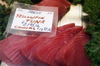 Yellowfin Tuna steaks are seen for sale at the Eastern Market February 25, 2014, in Washington, DC.       AFP PHOTO/Paul J. Richards / AFP PHOTO / PAUL J. RICHARDS