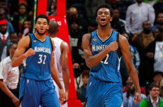 ATLANTA, GA - NOVEMBER 09: Andrew Wiggins #22 of the Minnesota Timberwolves reacts after drawing a foul on a basket against the Atlanta Hawks at Philips Arena on November 9, 2015 in Atlanta, Georgia. NOTE TO USER User expressly acknowledges and agrees that, by downloading and or using this photograph, user is consenting to the terms and conditions of the Getty Images License Agreement.   Kevin C. Cox/Getty Images/AFP