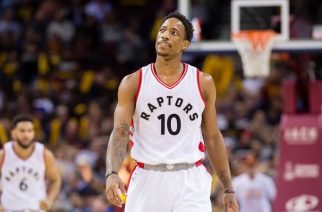 CLEVELAND, OH - NOVEMBER 15: DeMar DeRozan #10 of the Toronto Raptors reacts during the second half against the Cleveland Cavaliers at Quicken Loans Arena on November 15, 2016 in Cleveland, Ohio. The Cavaliers defeated the Raptors 121-117. NOTE TO USER: User expressly acknowledges and agrees that, by downloading and/or using this photograph, user is consenting to the terms and conditions of the Getty Images License Agreement. Mandatory copyright notice.   Jason Miller/Getty Images/AFP