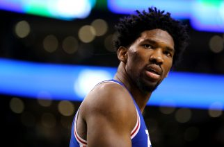 BOSTON, MA - JANUARY 6: Joel Embiid #21 of the Philadelphia 76ers looks on during the second half against the Boston Celtics at TD Garden on January 6, 2017 in Boston, Massachusetts. The Celtics defeat the 76ers 110-106. NOTE TO USER: User expressly acknowledges and agrees that , by downloading and or using this photograph, User is consenting to the terms and conditions of the Getty Images License Agreement.   Maddie Meyer/Getty Images/AFP