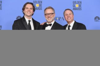 BEVERLY HILLS, CA - JANUARY 08: (L-R) Directors Byron Howard and Rich Moore and producer Clark Spencer, winners of Best Animated Feature Film for 'Zootopia,' pose in the press room during the 74th Annual Golden Globe Awards at The Beverly Hilton Hotel on January 8, 2017 in Beverly Hills, California.   Kevin Winter/Getty Images/AFP