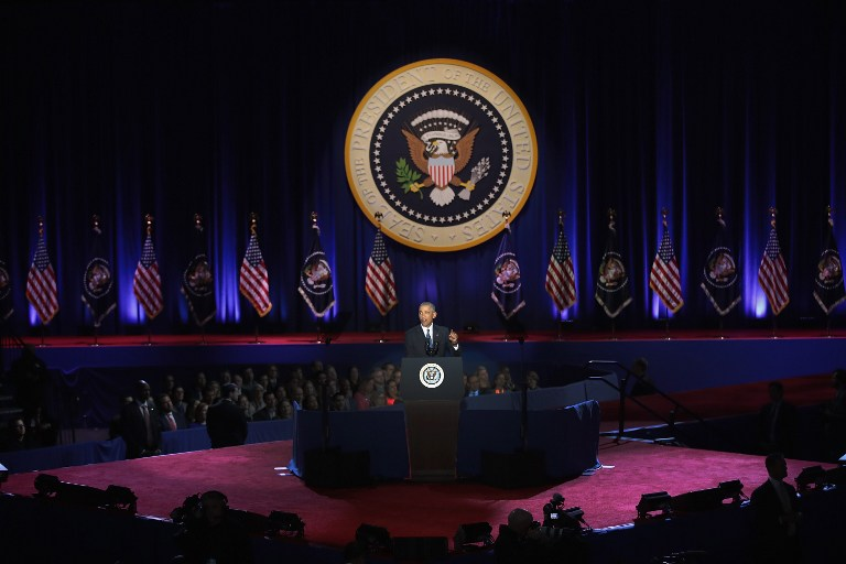 CHICAGO, IL - JANUARY 10: President Barack Obama delivers a farewell speech to the nation on January 10, 2017 in Chicago, Illinois. President-elect Donald Trump will be sworn in the as the 45th president on January 20. Scott Olson/Getty Images/AFP