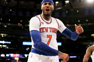 NEW YORK, NY - JANUARY 12: Carmelo Anthony #7 of the New York Knicks reacts after he is called for a foul in the fourth quarter against the Chicago Bulls at Madison Square Garden on January 12, 2017 in New York City. NOTE TO USER: User expressly acknowledges and agrees that, by downloading and or using this Photograph, user is consenting to the terms and conditions of the Getty Images License Agreement   Elsa/Getty Images/AFP