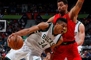 ATLANTA, GA - JANUARY 15: Giannis Antetokounmpo #34 of the Milwaukee Bucks drives against Thabo Sefolosha #25 of the Atlanta Hawks at Philips Arena on January 15, 2017 in Atlanta, Georgia. NOTE TO USER User expressly acknowledges and agrees that, by downloading and or using this photograph, user is consenting to the terms and conditions of the Getty Images License Agreement.   Kevin C. Cox/Getty Images/AFP