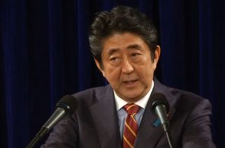 Japan Prime Minister Shinzo Abe at a news conference in Vietnam.  (Photo grabbed from Reuters video)
