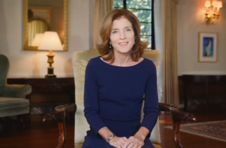 U.S. Ambassador to Japan Caroline Kennedy bids her farewell through a video message.(photo grabbed from Reuters video)
