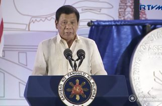 Philippine president Rodrigo Duterte speaking at the launch of the ASEAN chairmanship of the Philippines at the SMX Convention Center in Davao City on January 15.  (Photo grabbed from RTVM video)
